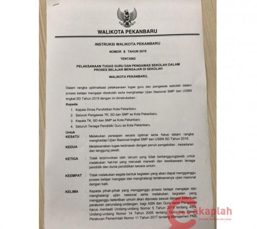 Wako Pekanbaru Terbitkan Instruksi Warning Bagi Yang Ingin