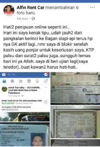 Seorang Warga Pelalawan Menjadi Korban Penipuan Jual Beli Online